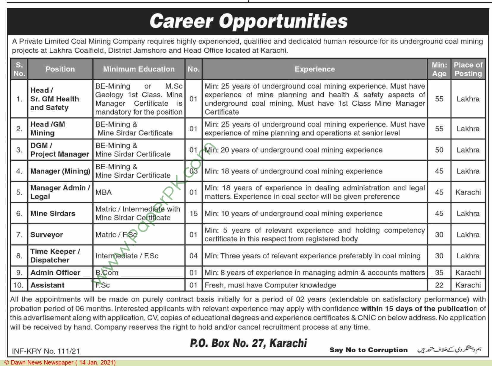 Coal Mining Company jobs newspaper ad for Manager in Karachi