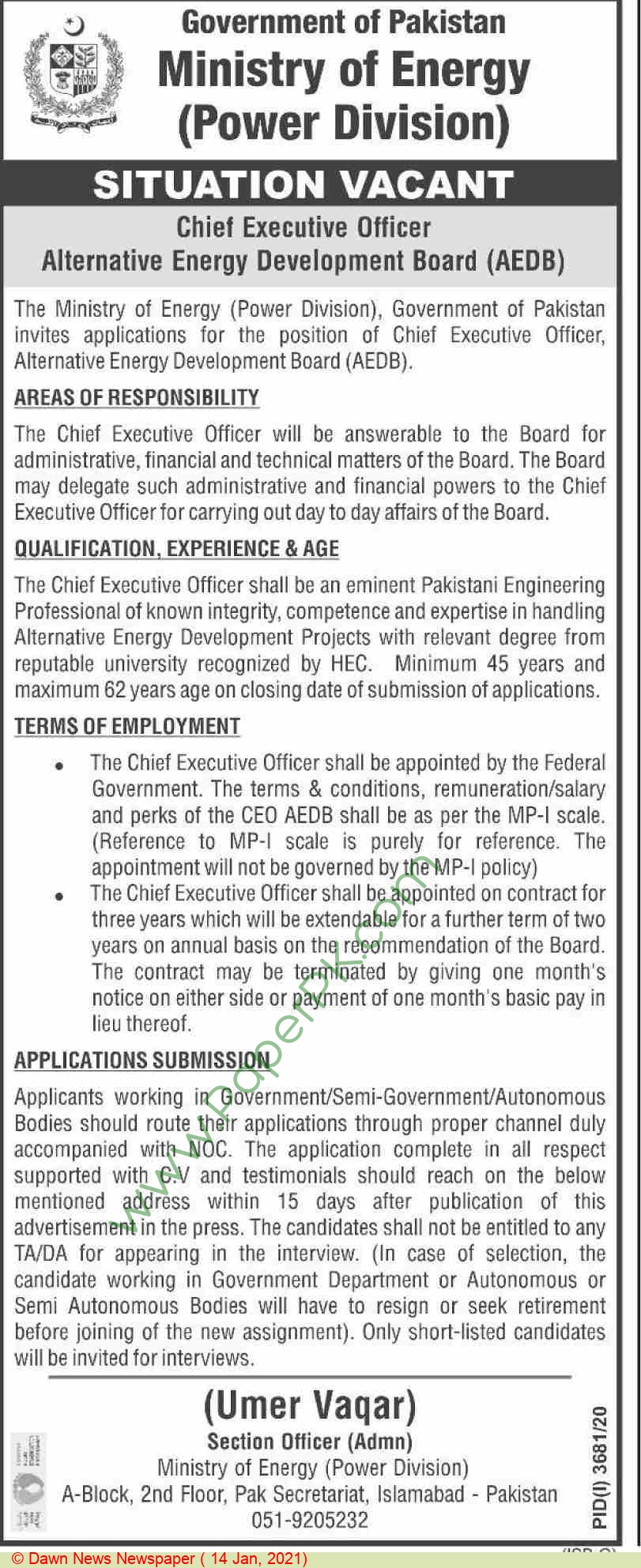 Ministry Of Energy jobs newspaper ad for Chief Executive Officer in Islamabad on 2021-01-14