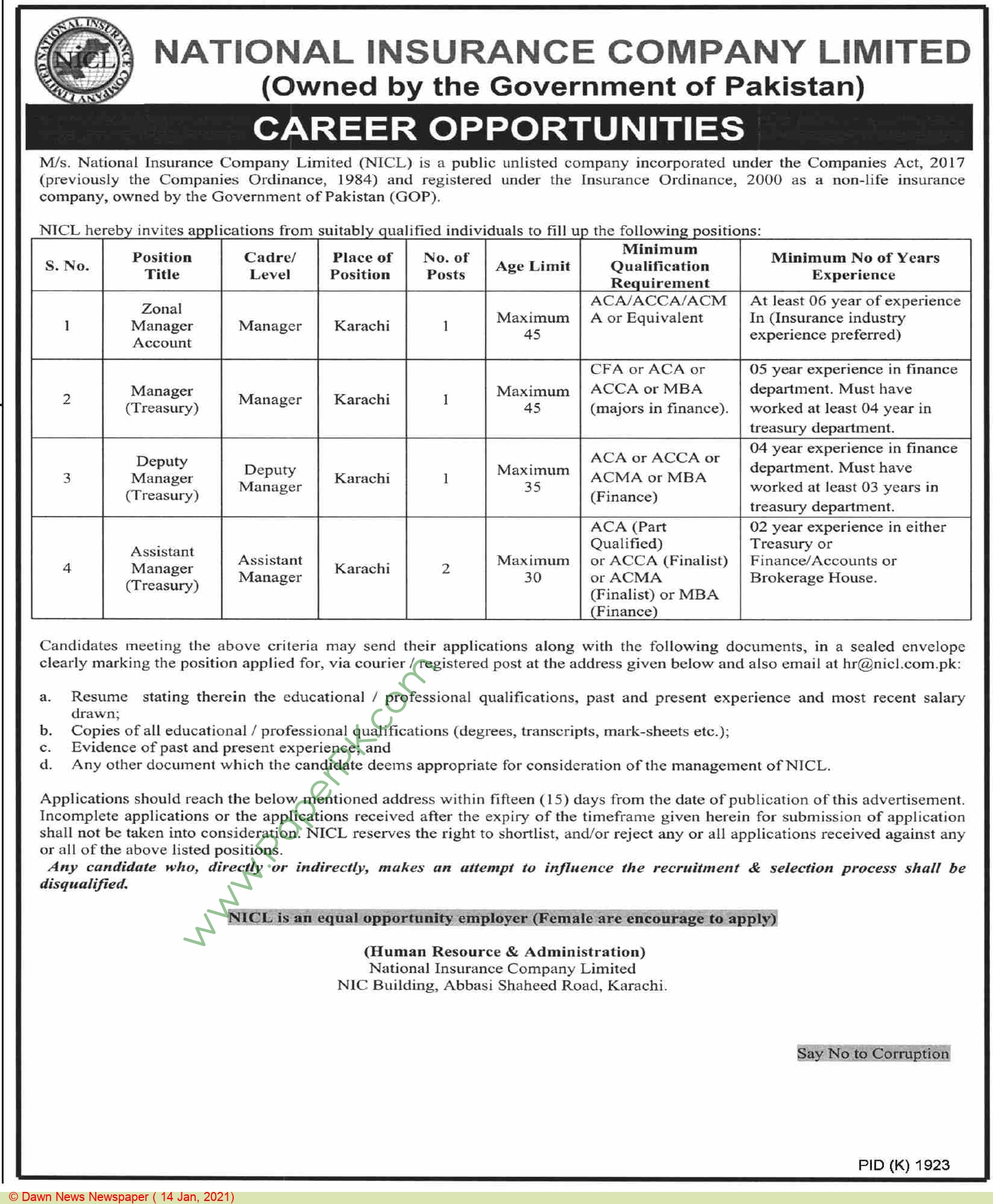 National Insurance Company Limited jobs newspaper ad for Assistant Manager in Karachi