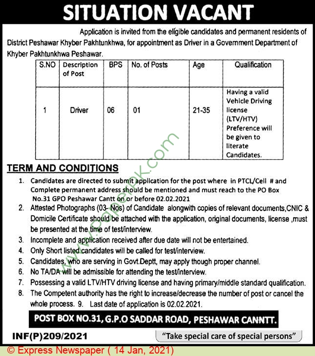 Government Of Khyber Pakhtunkhwa jobs newspaper ad for Driver in Peshawar on 2021-01-14