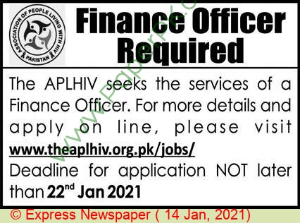 Pakistan Association Of People Living With Hiv jobs newspaper ad for Finance Officer in Peshawar on 2021-01-14