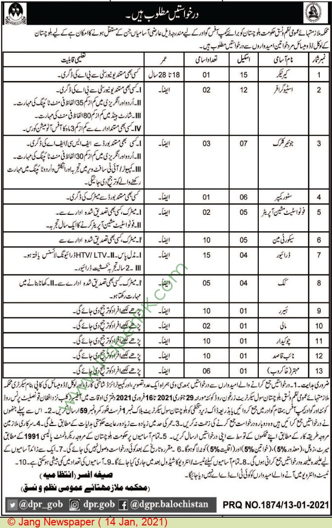 Balochistan Government jobs newspaper ad for Store Keeper in Quetta on 2021-01-14