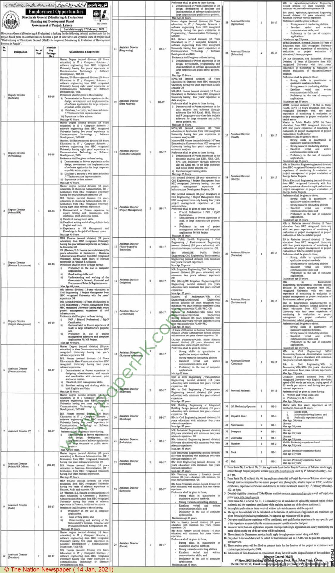 Planning & Development Board jobs newspaper ad for Sweeper in Lahore