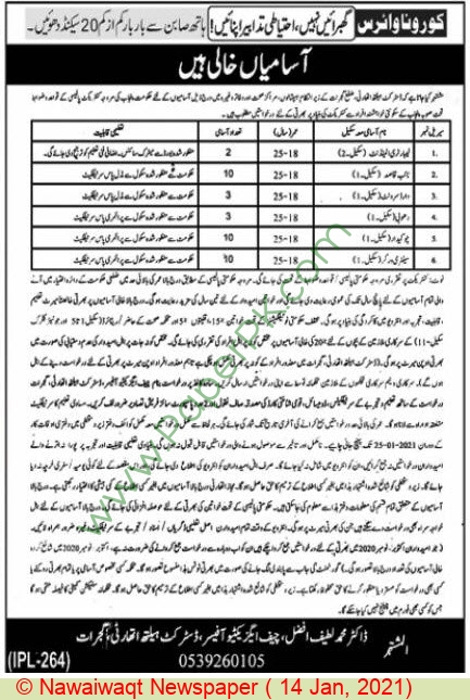 District Health Authority Gujrat Jobs For Naib Qasid advertisemet in newspaper on January 14,2021