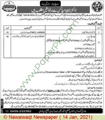 Population Welfare Department jobs newspaper ad for Doctor in Mianwali
