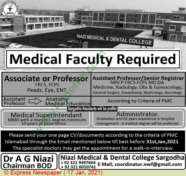 Niazi Medical & Dental College jobs newspaper ad for Associate Professor in Sargodha on 2021-01-17