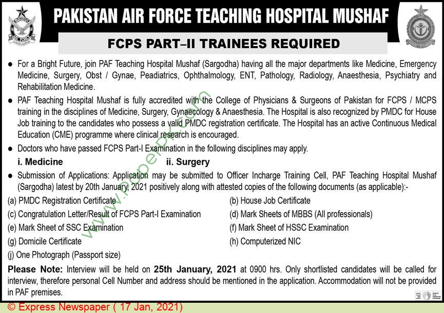 Pakistan Air Force Teaching Hospital jobs newspaper ad for Trainee in Sargodha on 2021-01-17
