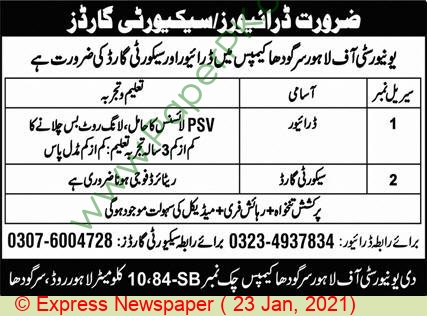 The University Of Lahore jobs newspaper ad for Driver in Sargodha on 2021-01-23