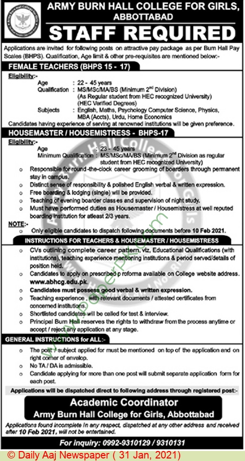 Army Burn Hall College For Girls jobs newspaper ad for Housemaster in Abbottabad on 2021-01-31