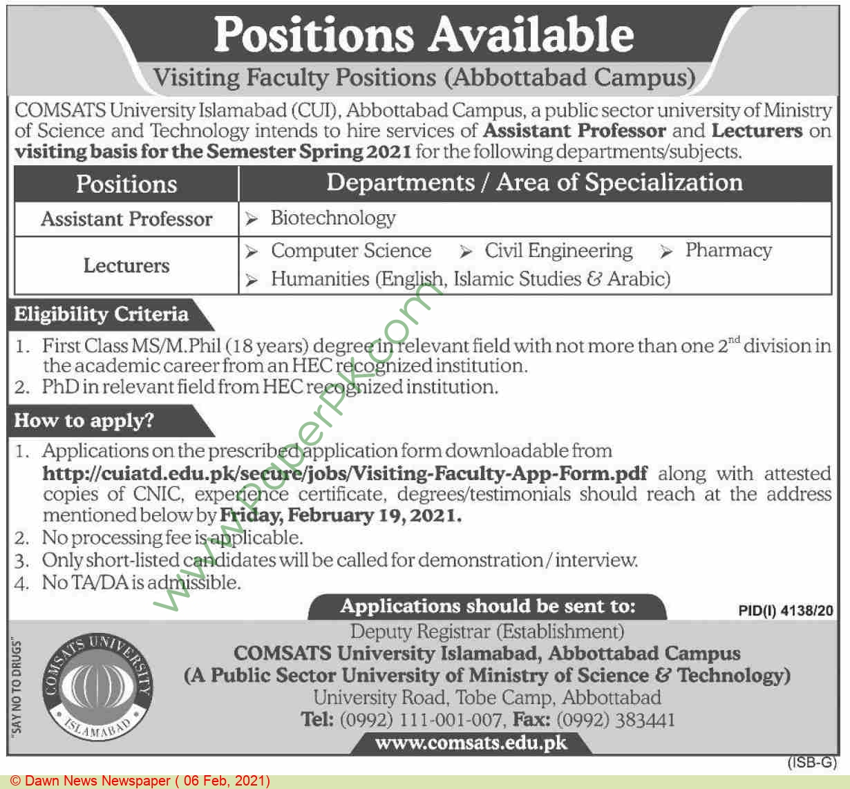 Comsats University jobs newspaper ad for Assistant Professor in Abbottabad, Islamabad on 2021-02-06
