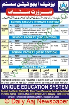 Unique Education System jobs newspaper ad for Teacher in Abbottabad on 2021-02-07