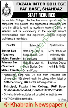 Fazaia Inter College jobs newspaper ad for Teachers in Jacobabad on 2021-02-07
