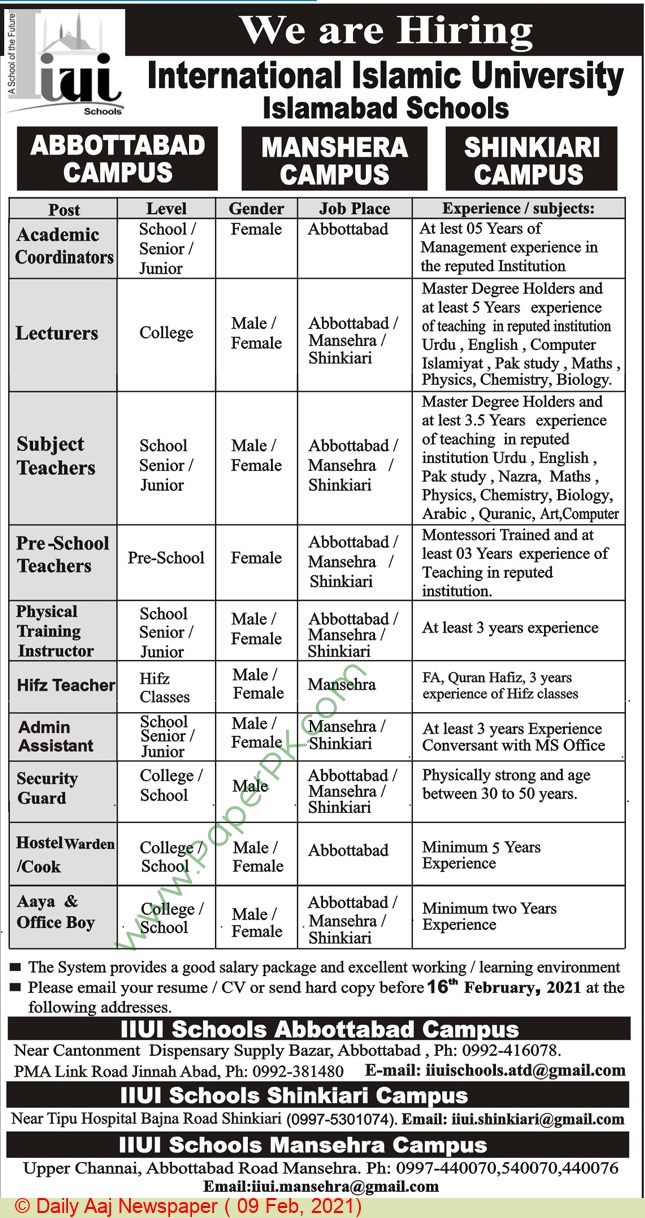 International Islamic University jobs newspaper ad for Academic Coordinator in Abbottabad on 2021-02-09
