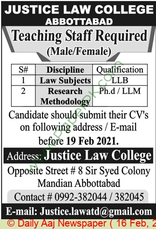 Justice Law College jobs newspaper ad for Research Methodology in Abbottabad on 2021-02-16