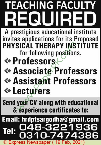 Physical Therapy Institute jobs newspaper ad for Associate Professor in Sargodha on 2021-02-19