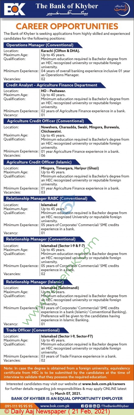 The Bank Of Khyber jobs newspaper ad for Agriculture Credit Officer in Peshawar, Karachi, Islamabad on 2021-02-21