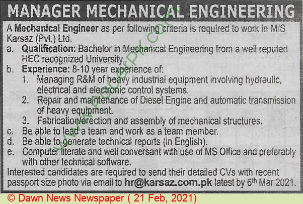 Karsaz Private Limited jobs newspaper ad for Manager Mechanical Engineer in Karachi on 2021-02-21