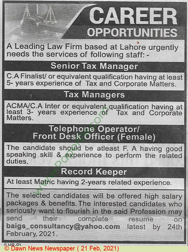 Law Firm jobs newspaper ad for Tax Manager in Lahore on 2021-02-21