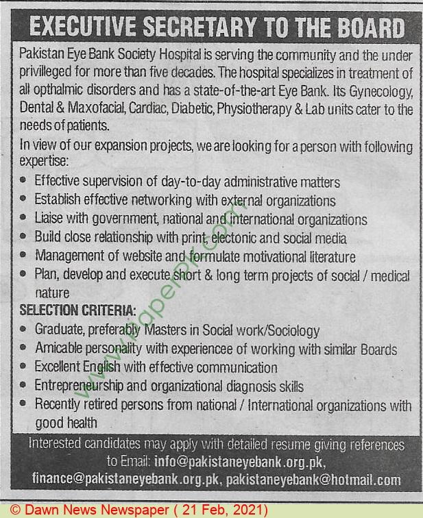 Pakistan Eye Bank Society jobs newspaper ad for Secretary in Karachi on 2021-02-21