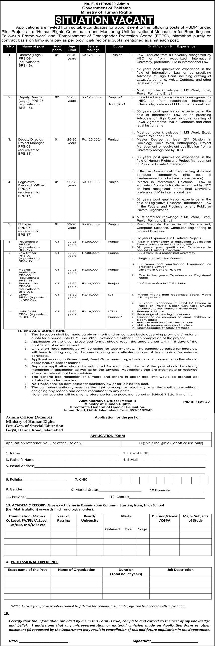 Ministry Of Human Rights jobs newspaper ad for It Expert in Islamabad on 2021-02-21