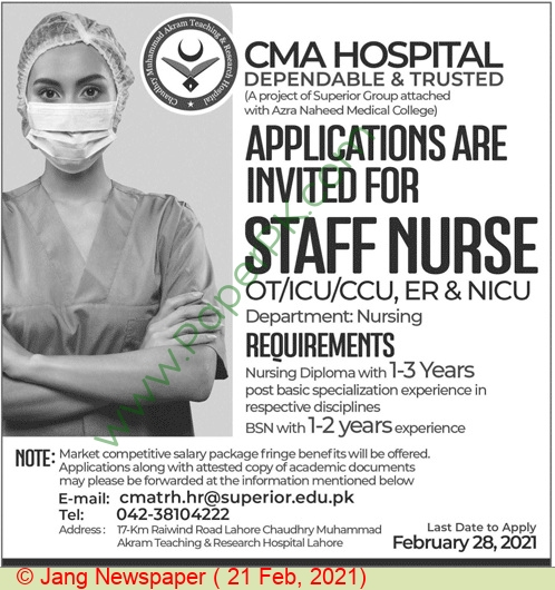 Chaudhry Muhammad Akram Teaching & Research Hospital jobs newspaper ad for Staff Nurse in Lahore on 2021-02-21