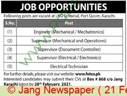 Fauji Oil Terminal & Distribution Company jobs newspaper ad for Engineer in Karachi on 2021-02-21