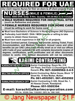 Karimi Contracting jobs newspaper ad for Nurse in Karachi on 2021-02-21