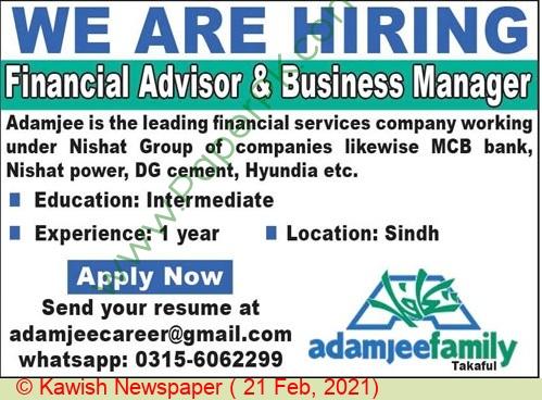 Adamjee Family Takaful jobs newspaper ad for Financial Advisor in Karachi on 2021-02-21