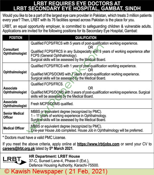 Layton Rehmatullah Benevolent Trust Free Eye Hospital jobs newspaper ad for Ophthalmologist in Karachi on 2021-02-21