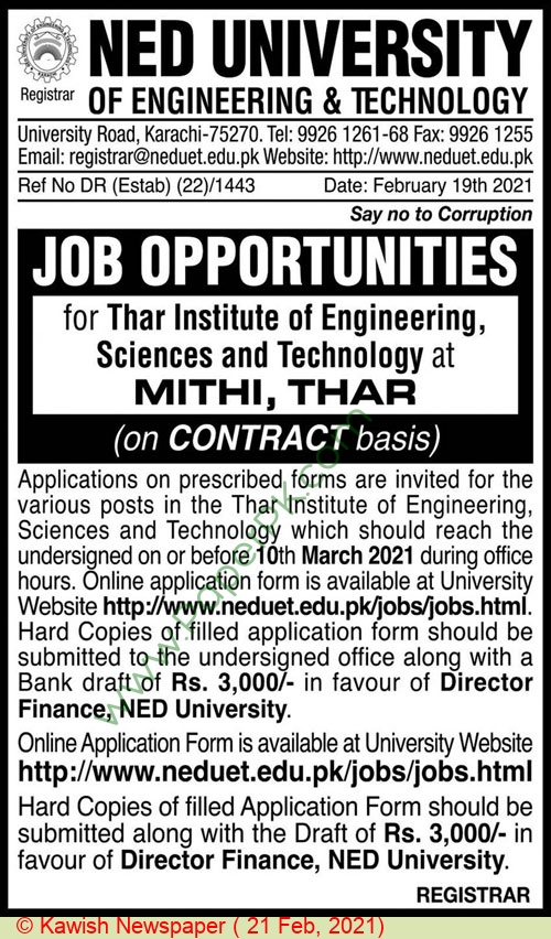 Ned University Of Engineering & Technology jobs newspaper ad for Associate Professor in Karachi on 2021-02-21