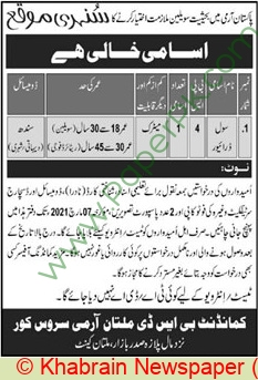 Pakistan Army jobs newspaper ad for Civil Driver in Multan on 2021-02-21