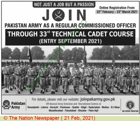 Pakistan Army jobs newspaper ad for Commissioned Officer in Karachi, Lahore, Rawalpindi on 2021-02-21