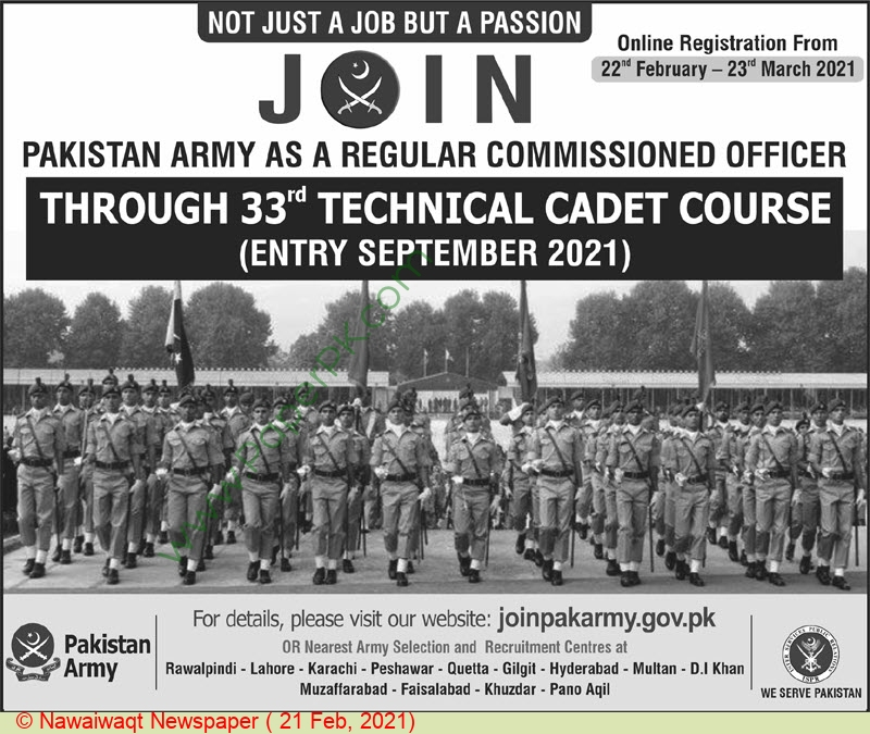 Pakistan Army jobs newspaper ad for Regular Commissioned Officer in Karachi, Lahore, Peshawar on 2021-02-21