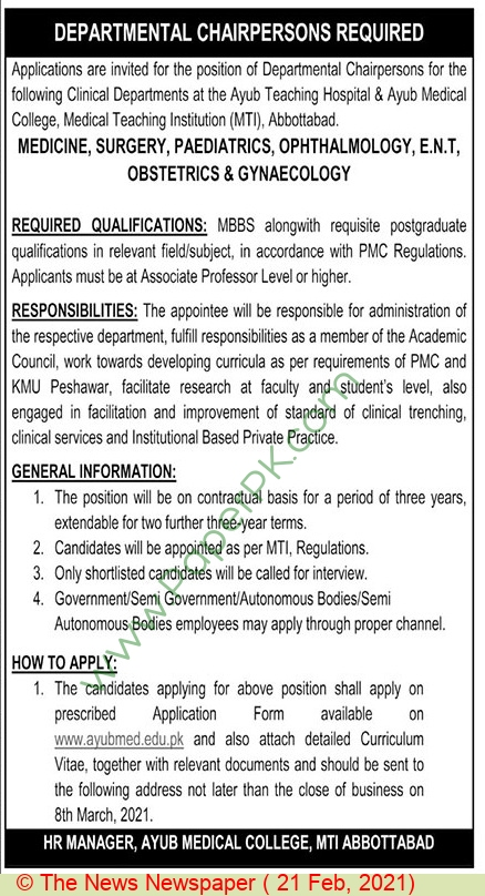 Ayub Medical College jobs newspaper ad for Departmental Chairperson in Abbottabad on 2021-02-21