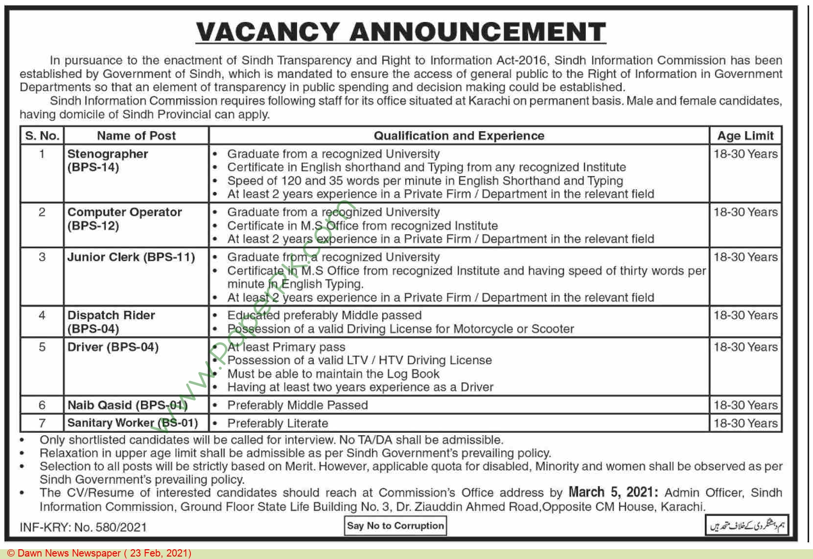 Sindh Information Commission jobs newspaper ad for Computer Operator in Karachi on 2021-02-23
