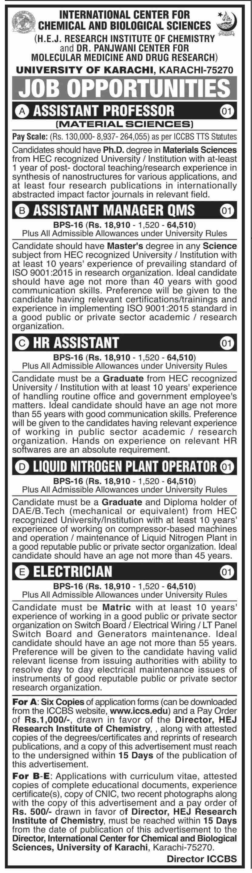 International Center For Chemical & Biological Sciences jobs newspaper ad for Assistant Professor in Karachi on 2021-02-23