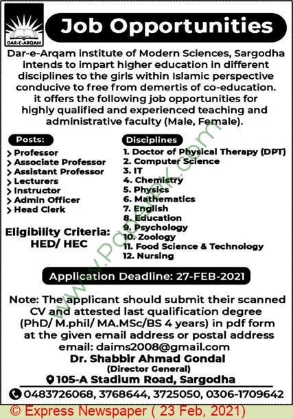Dar E Arqam Institute Of Modern Sciences jobs newspaper ad for Head Clerk in Sargodha on 2021-02-23