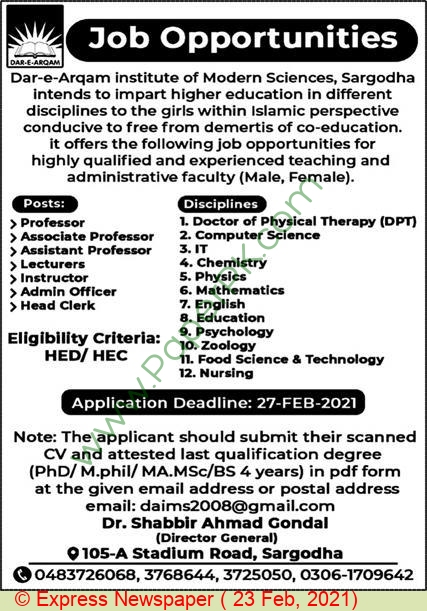 Dar E Arqam Institute Of Modern Sciences jobs newspaper ad for Instructor in Sargodha on 2021-02-23