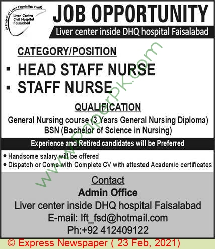 Liver Centre Dhq Hospital jobs newspaper ad for Staff Nurse in Faisalabad on 2021-02-23