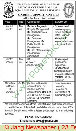 Khawaja Muhammad Safdar Medical College jobs newspaper ad for Hospital Director in Sialkot on 2021-02-23