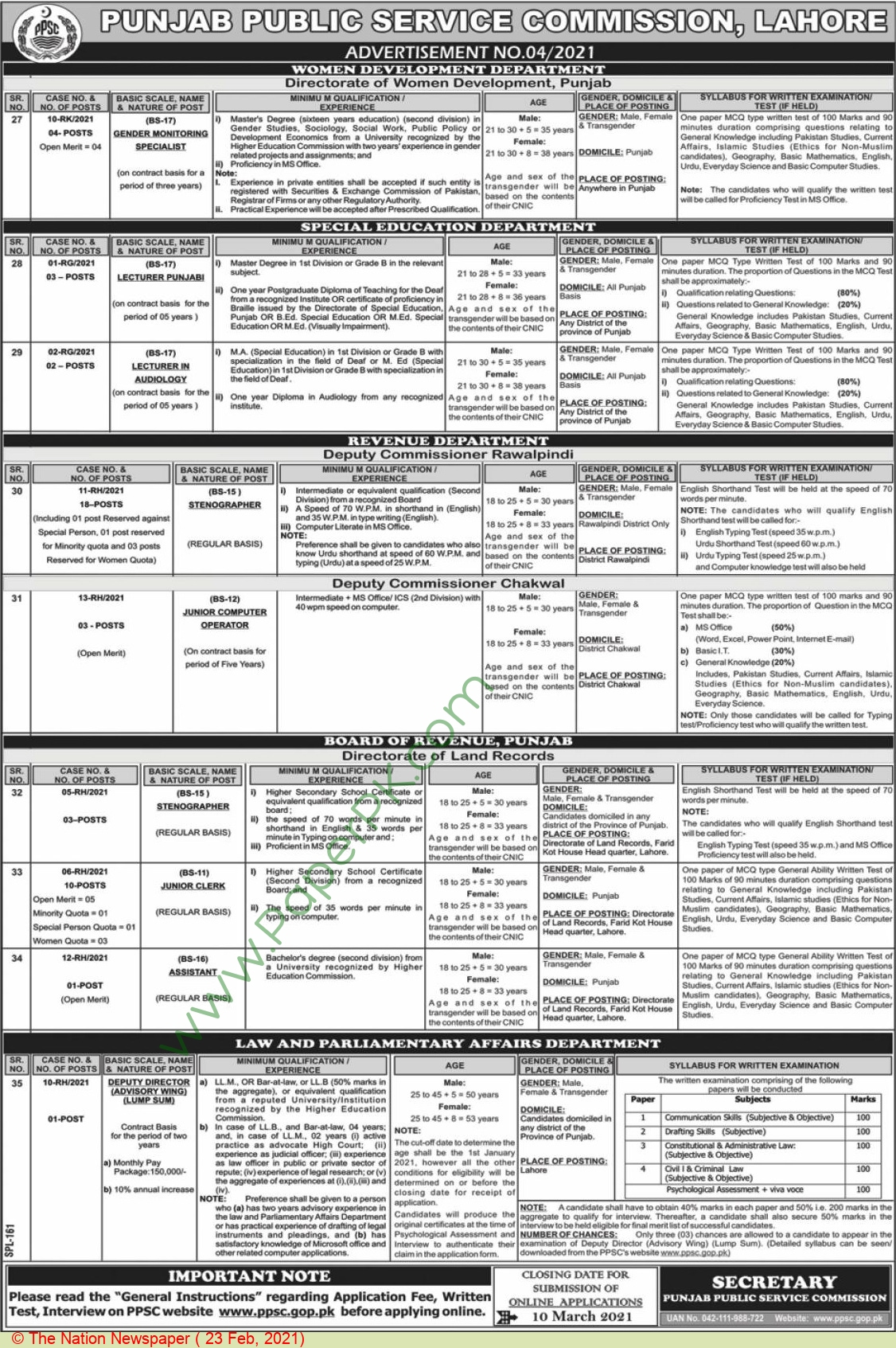 Board Of Revenue jobs newspaper ad for Junior Clerk in Lahore on 2021-02-23