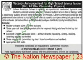 Lahore American School jobs newspaper ad for Teacher in Lahore on 2021-02-23
