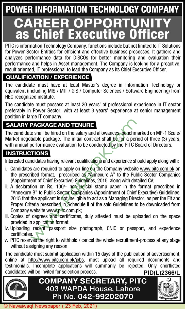 Power Information Technology Company jobs newspaper ad for Chief Executive Officer in Lahore on 2021-02-23
