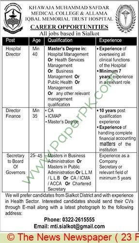Khawaja Muhammad Safdar Medical College jobs newspaper ad for Director in Sialkot on 2021-02-23