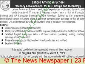 Lahore American School jobs newspaper ad for Hod Design & Technology in Lahore on 2021-02-23
