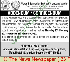 Water & Sanitation Services Company jobs newspaper ad for Manager Planning & Project in Mardan on 2021-02-23