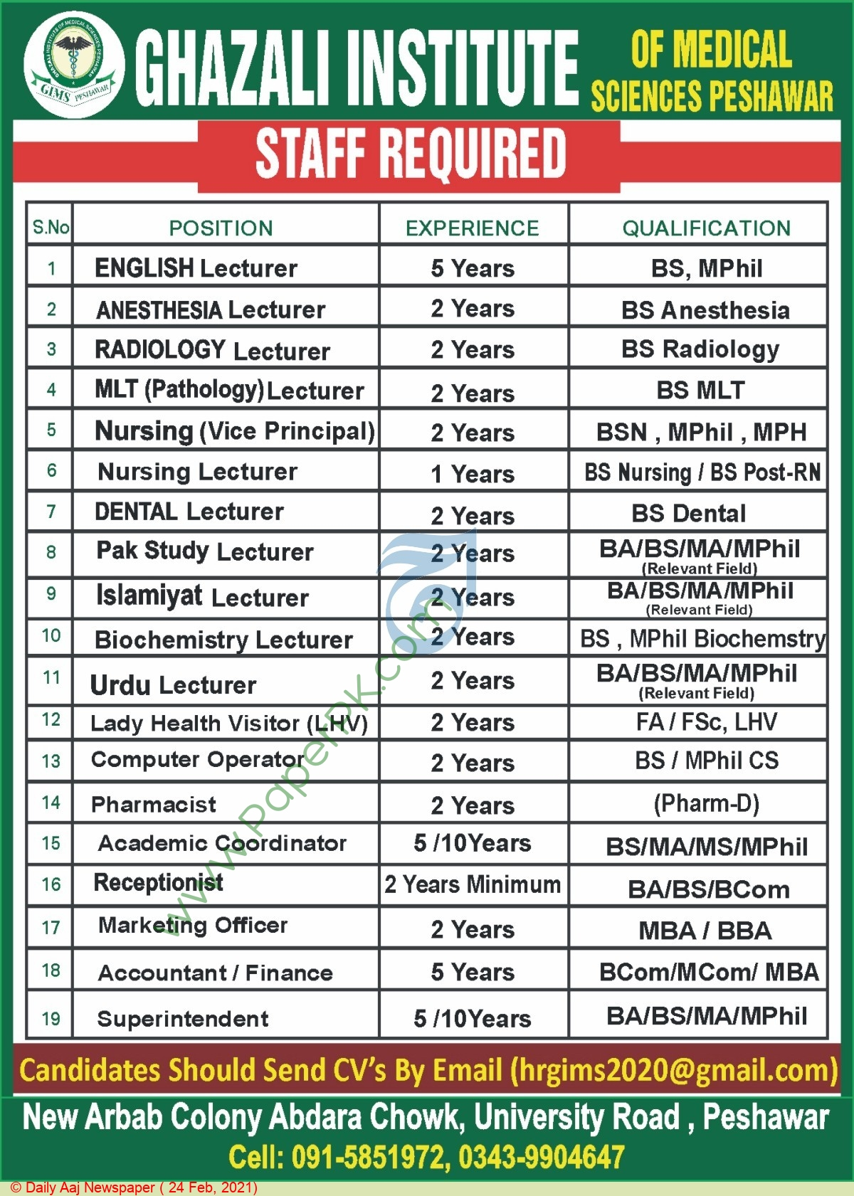 Ghazali Institute Of Medical Sciences jobs newspaper ad for Accountant in Peshawar on 2021-02-24
