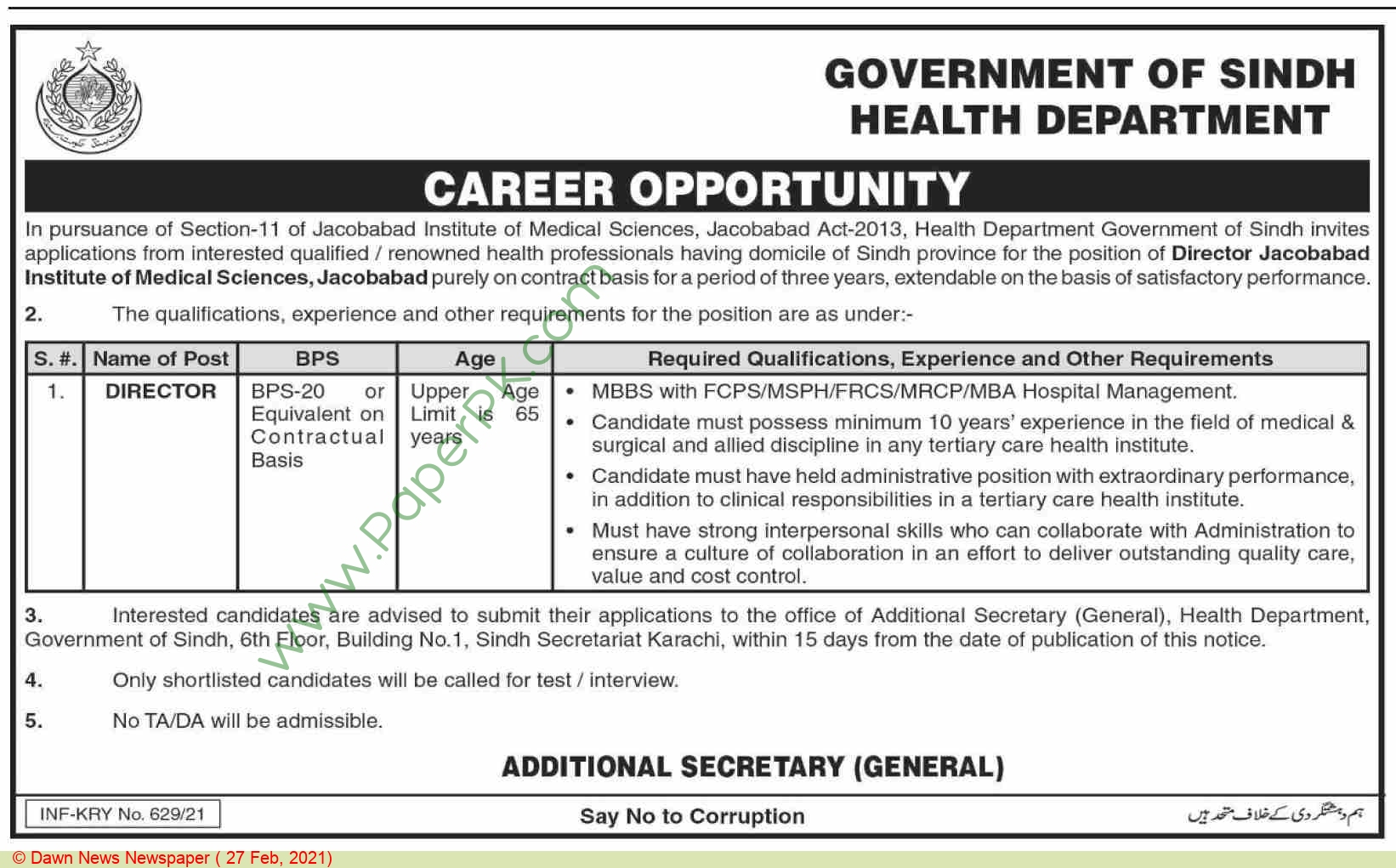 Jacobabad Institute Of Medical Sciences jobs newspaper ad for Director in Jacobabad on 2021-02-27