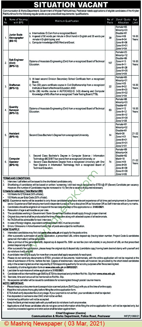 Communication & Works Department jobs newspaper ad for Junior Scale Stenographer in Peshawar on 2021-03-03