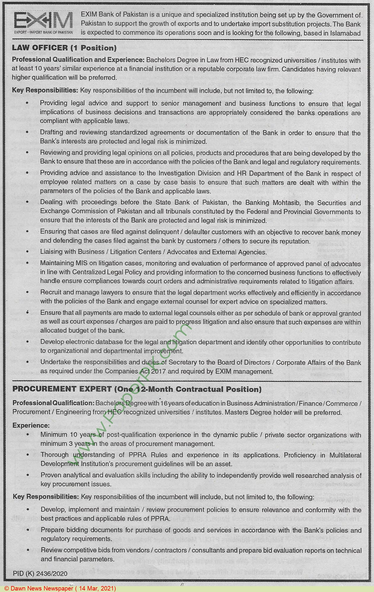 Exim Bank Of Pakistan jobs newspaper ad for Law Officer in Islamabad on 2021-03-14